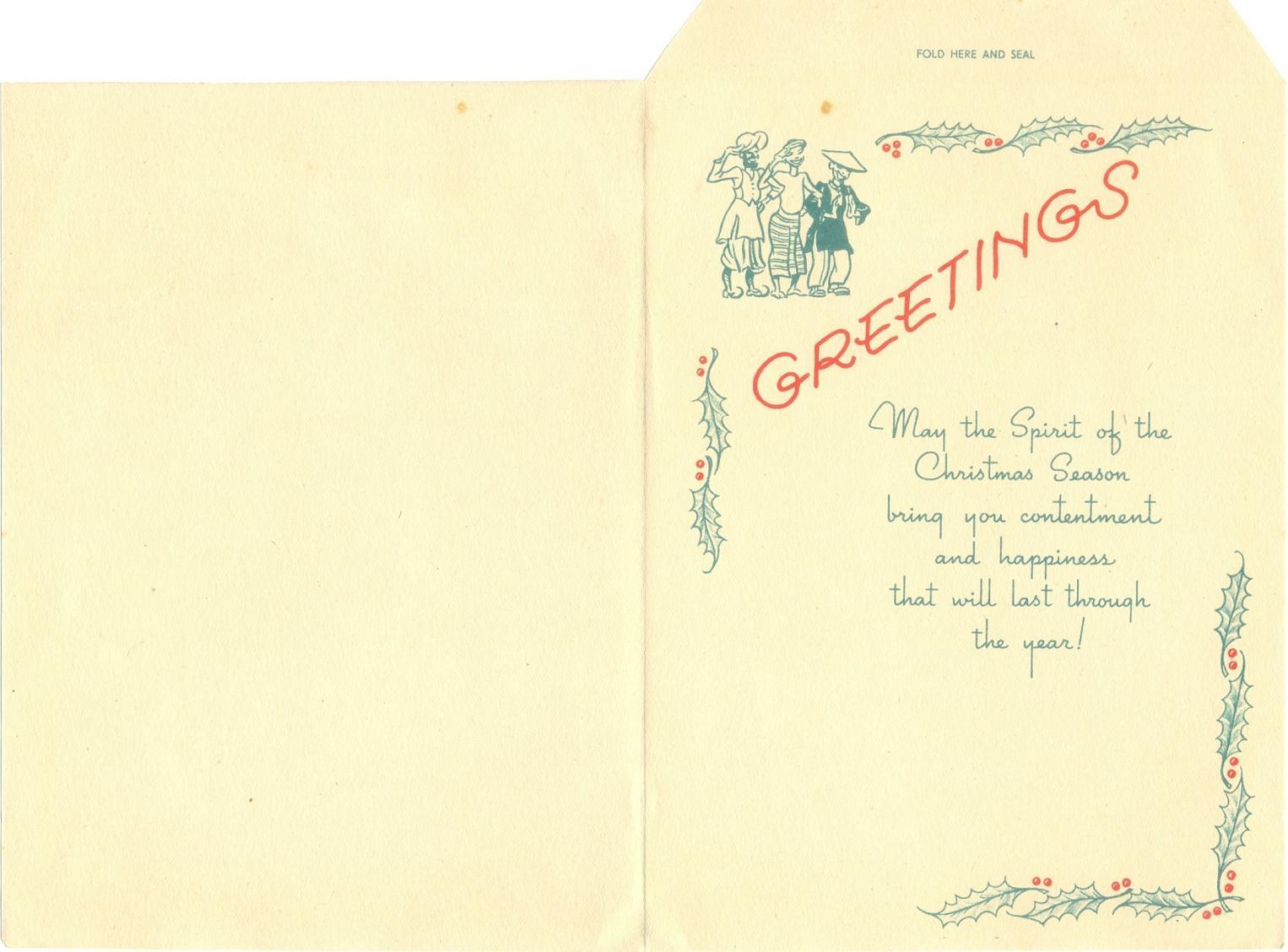 Philatelic Incarnation Christmas Greetings Card Cbi Theater Wwii
