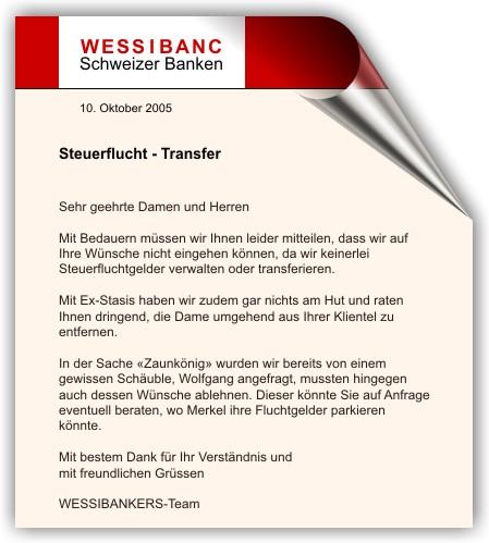 Antwort der Schweizer Banken