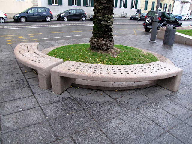 Curved stone bench, seafront promenade, Livorno