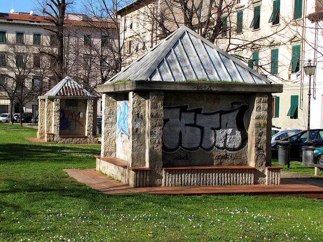 Benches with graffiti, piazza della Vittoria, Livorno