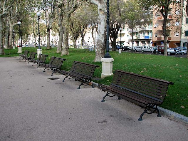 Line of benches, Piazza Mazzini, Livorno