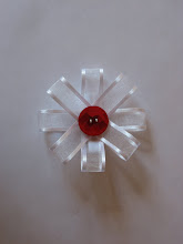 Large Flower Bow White/Red