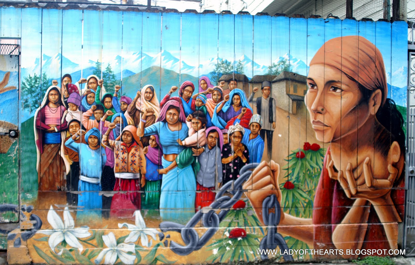 Lady of 39 the arts 39 the mission mural art for Chicano mural movement