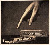 Antiguo anuncio de aspirina de bayer en medicinas