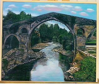 Cuadro al óleo de Pilar Ochoa titulado: Puente romano en Cangas de Onís