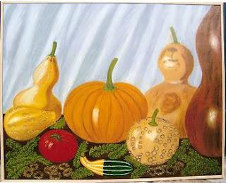 Cuadro al óleo de Pilar Ochoa titulado: Las calabazas