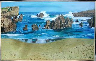 Cuadro al óleo de Pilar Ochoa titulado: Playa desierta