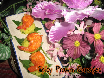 Spicy prawn canapes for Types of canape bases