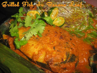 Malaysian Delicacies: Grilled Fish In Banana Leaf