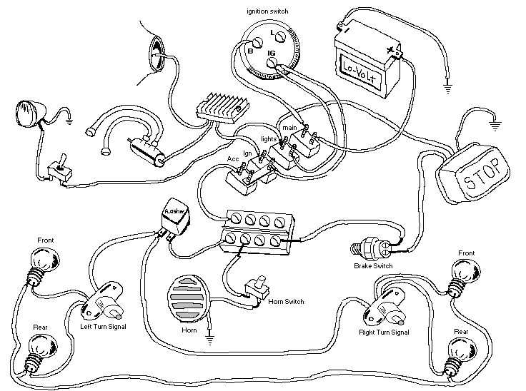 Motorcycle Wiring Harness Diagram : Live to ride church drawn motorcycle wiring diagrams