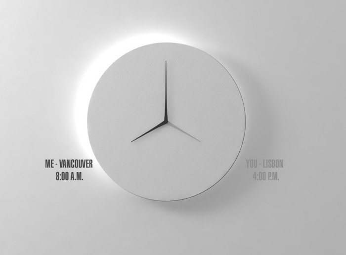 Long d dual time wall clock by kit men design scene for Dual time wall clock
