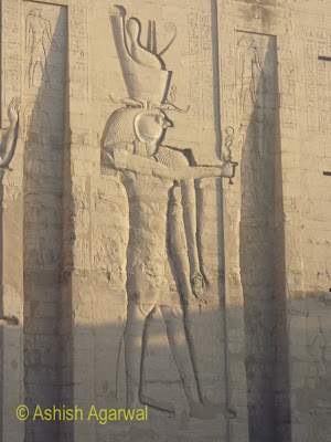 Edfu temple in Egypt - the huge carving in the first pylon