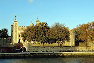 Part of the Tower of London as seen from the Thames