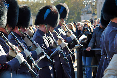 Close up of marching formation at Buckingham Palace changing of the guard