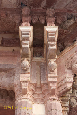 The carved pillars inside the Amber Fort in the Jaipur