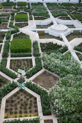 Overhead view of the garden inside the Amer Fort in Jaipur