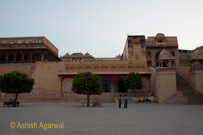 Trees inside the courtyard in the Amer Fort in Jaipur