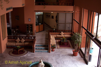 Basma Hotel in Aswan - view of the slightly small lobby from a higher position