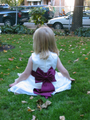 Joy the flower girl in the yard