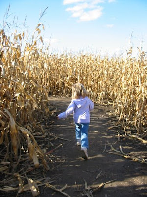 Joy in corn maze
