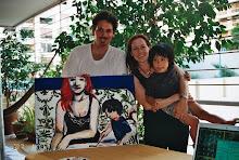Pablo, Kristy y Felix ,en el balcon taller .