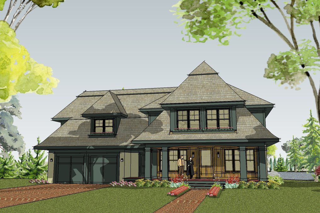An Elegant Cottage Home Design With A Welcoming Front Porch.