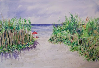 Ocean Path watercolor Joan Sea Sand