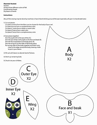 owl templates for sewing - printable owl applique pattern appliq patterns