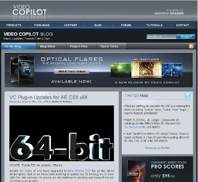 Filtros (Plugins) de Videocopilot para After Effects. Actualizacion a Version CS5 64 bit