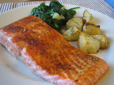 copper river salmon, sauteed spinach, and oven roasted potatoes