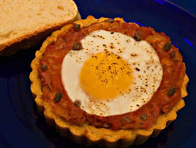 Santorini Fava Pie with Tomatoes, Capers, and Eggs