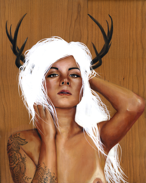 and a quaint aesthetic, feature girls, tattoos, antlers and alike.