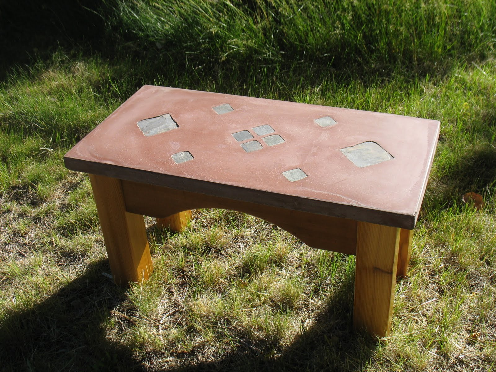Lost In Desert Designs Red Concrete Top Bench With Black