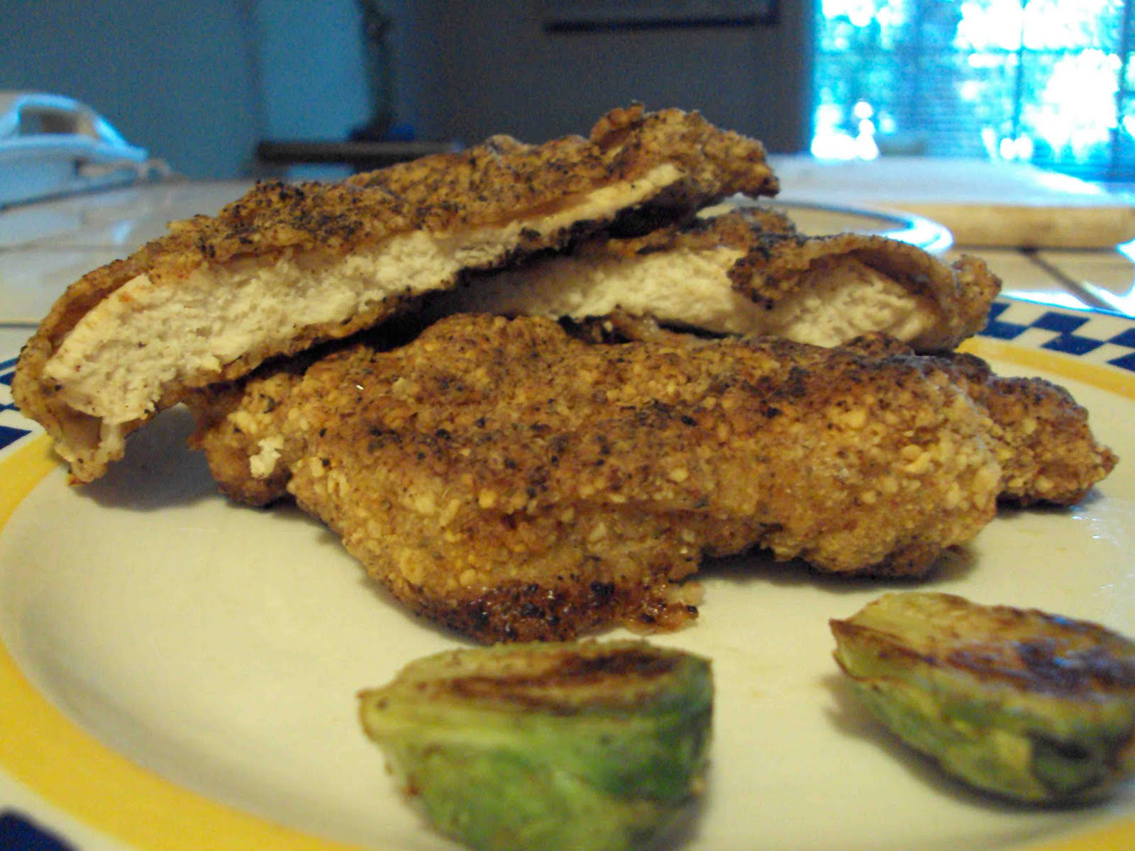 Southern Fried Chicken and Golden Crusted Brussels...