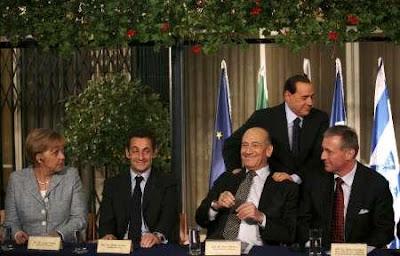 Líderes europeus e Olmert em Jerusalém, 18/01/09 [foto: REUTERS/Uriel Sinai/Pool]