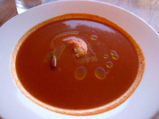 Chilled watermelon and tomato soup