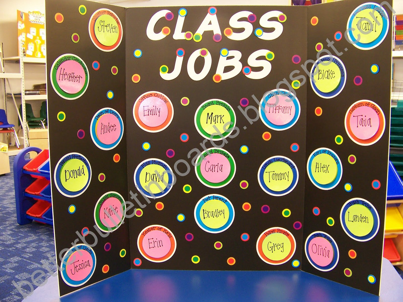 better bulletin boards polka dot job chart polka dot job chart