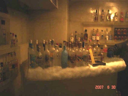 shooting vodka in the sub-zero room at the russian restaurant