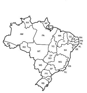 Desenho do Mapa do Brasil Com Os Estados Brasileiros - Colorir