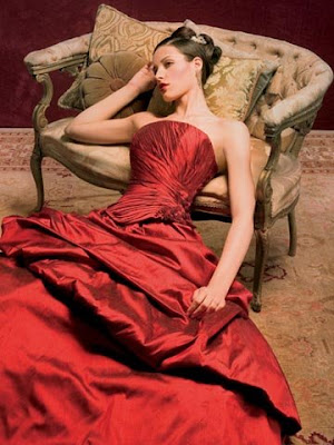 red satin wedding gown