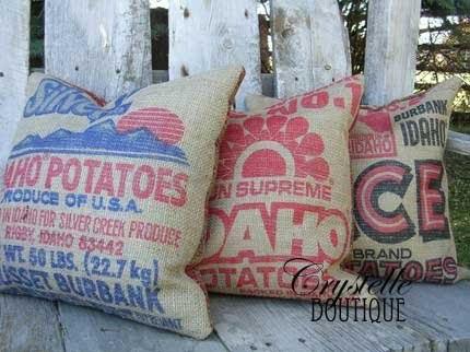 Potato boutique outdoor burlap sack decor for Burlap sack decor