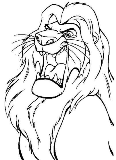 Dibujo de un león gruñendo para colorear o pintar