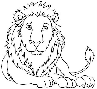 León descansando para colorear o pintar