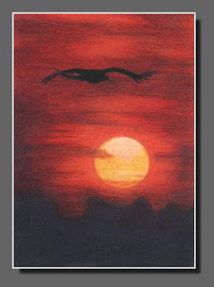 Silhouette Sky #35,ATC,Dee Overly, Colored Pencil