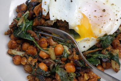 Roasted+chick+peas+and+chard+with+an+egg+2 Curried Chick Peas & Chard with Poached Eggs