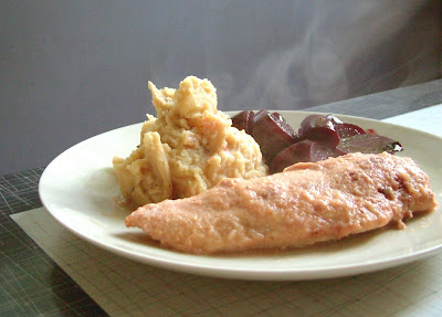 Applesauce+chicken+2 Day 267: Applesauce Chicken, Buttermilk Smashed Potatoes with Caramelized Onions and Honey Balsamic Beets