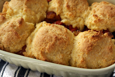Cherry+Tomato+Cobbler Garlicky Cherry Tomato Cobbler with Cornbread Biscuits