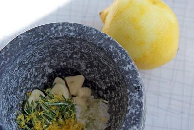 Mortar+%26+pestle Slow cooked Leg of Lamb with Garlic, Lemon and Rosemary, and Lemon Potatoes with Garlic & Oregano