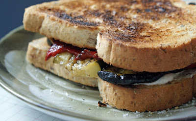Grilled+veg+sandwich+2 Grilled Vegetable Sandwiches with Boursin and Sunken Chocolate Cake with Blackberry Fool