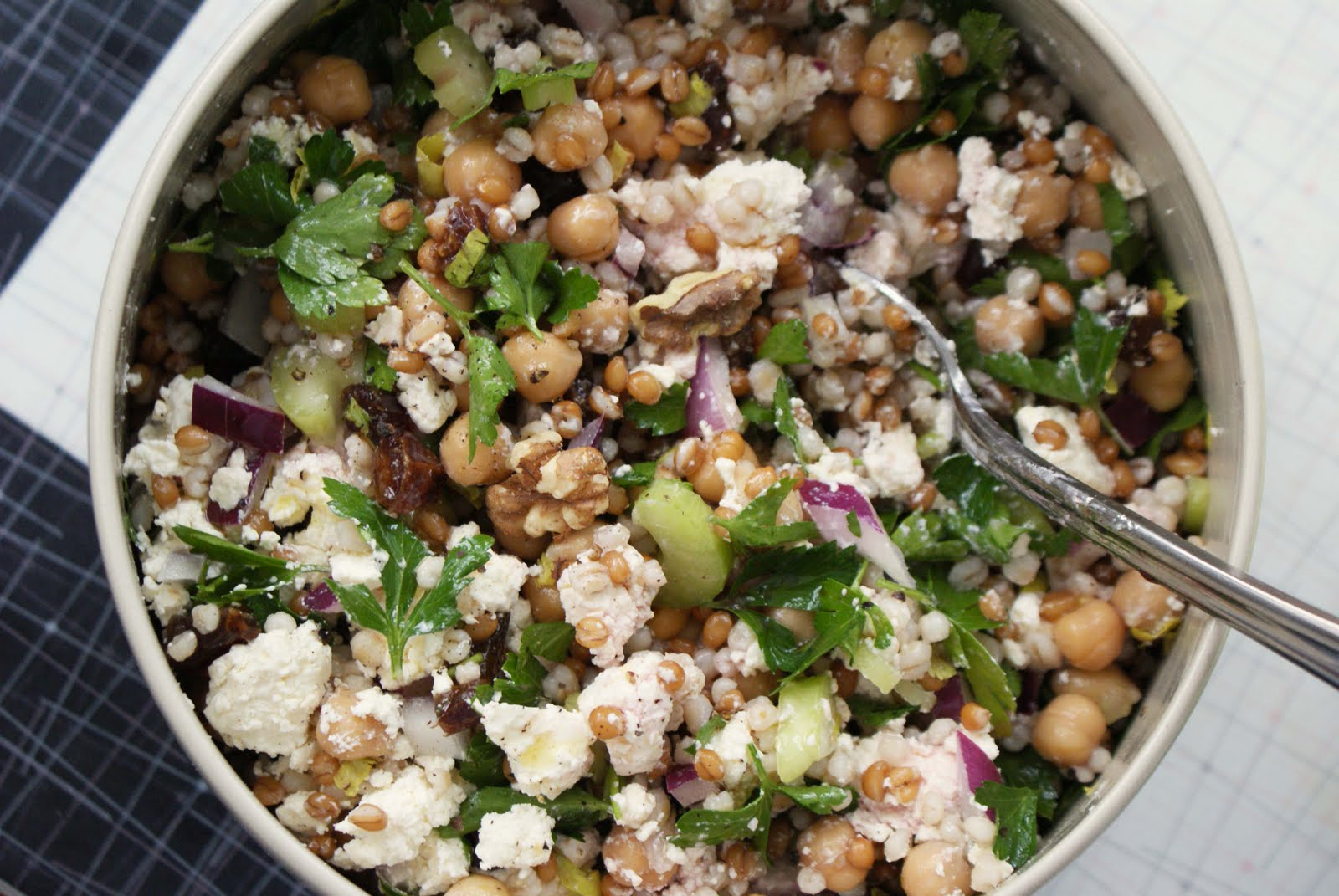 Barley & Wheat Berry Salad with Chickpeas and Feta - Dinner With Julie ...